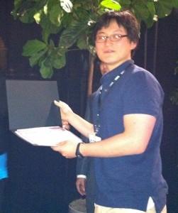 Soonwook Jung receiveing his runners-up certificate.
